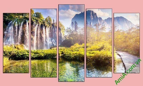 Tranh trang trí phong cảnh thiên nhiên thác nước hùng vĩ