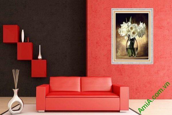 Tranh trang trí phòng khách bình hoa thủy tiên nghệ thuật-01