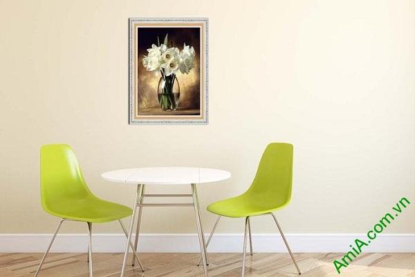Tranh trang trí phòng khách bình hoa thủy tiên nghệ thuật-02