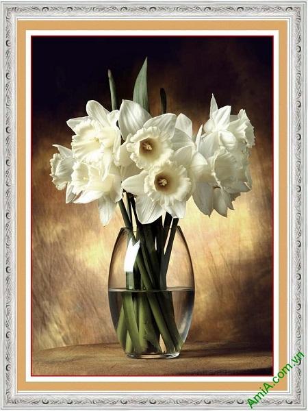 Tranh trang trí phòng khách bình hoa thủy tiên nghệ thuật