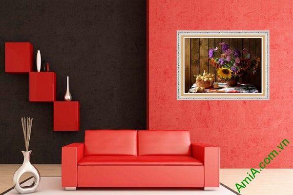 Tranh trang trí phòng khách đẹp bình hoa bốn mùa-01