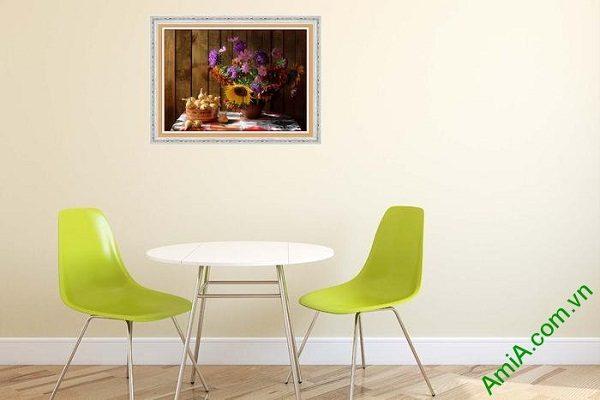 Tranh trang trí phòng khách đẹp bình hoa bốn mùa-02