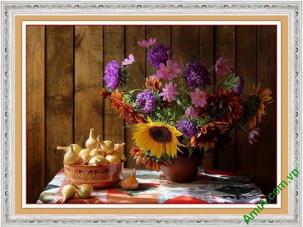 Tranh trang trí phòng khách đẹp bình hoa bốn mùa