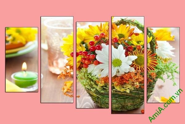 Hình anh tranh trang tri spa hoa nen lung linh diu nhe