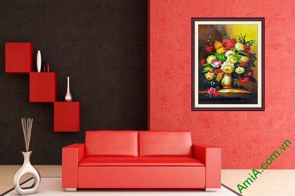 Tranh trang trí phòng khách hiện đại bình hoa nghệ thuật-01