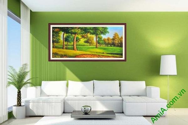 Tranh trang trí phòng khách khung cảnh đẹp cây xanh AmiA 670-02