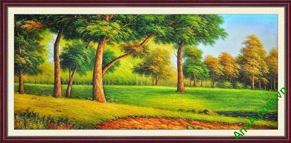 Tranh trang trí phòng khách khung cảnh đẹp cây xanh AmiA 670