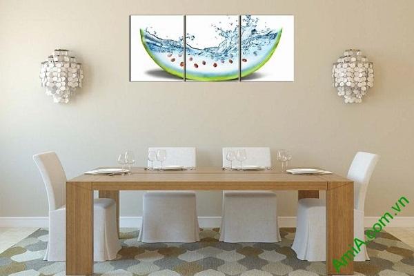 Tranh trang trí phòng khách, phòng ăn dưa hấu mát lạnh-02