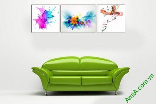 Tranh trang trí phòng khách, phòng trẻ em chấm phá sắc màu-01