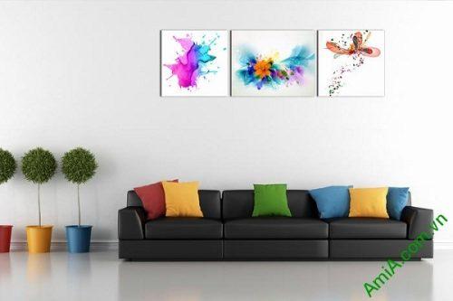Tranh trang trí phòng khách, phòng trẻ em chấm phá sắc màu-02