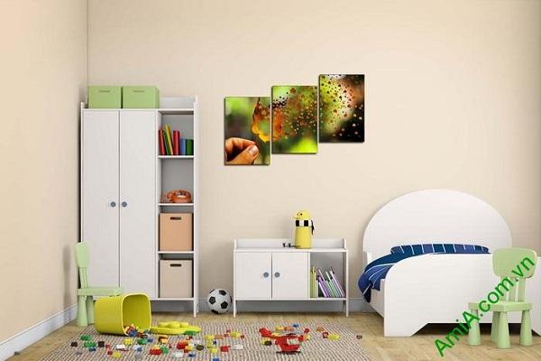 Tranh trang trí phòng khách, phòng trẻ em lá phong đỏ-02