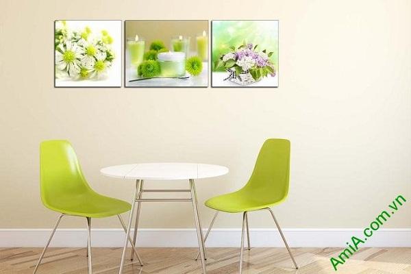 Tranh trang trí spa sang trọng nến thơm và hoa AmiA 660-02