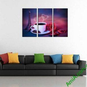 Tranh trang trí tách cafe tình yêu hiện đại AmiA 697-00