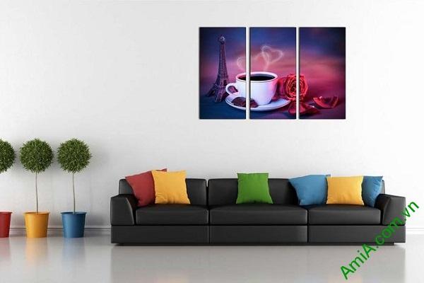Tranh trang trí tách cafe tình yêu hiện đại AmiA 697-02