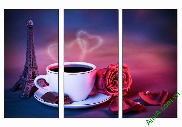 Tranh trang trí tách cafe tình yêu hiện đại AmiA 697