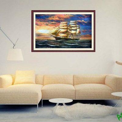 Tranh trang trí thuận buồm xuôi gió in giả sơn dầu AmiA 676-00