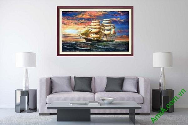 Tranh trang trí thuận buồm xuôi gió in giả sơn dầu AmiA 676-01