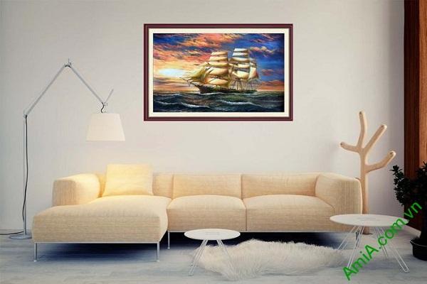 Tranh trang trí thuận buồm xuôi gió in giả sơn dầu AmiA 676-02