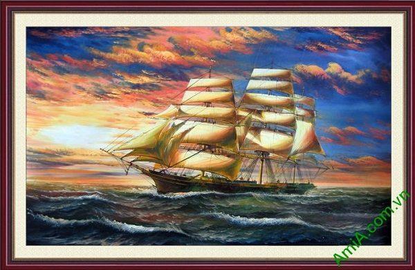 Tranh trang trí thuận buồm xuôi gió in giả sơn dầu AmiA 676