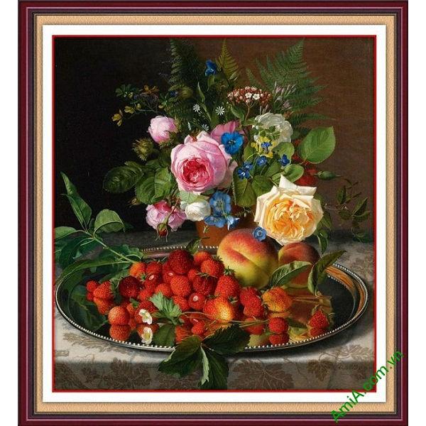 Tranh trang trí treo tường bình hoa và quả AmiA 689-00