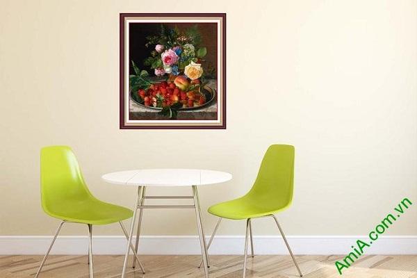 Ý nghĩa tranh bình hoa nghệ thuật trang trí phòng ăn hiện đại
