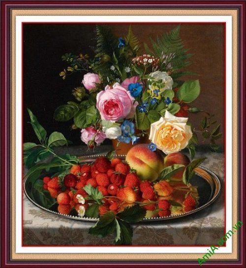 Tranh trang trí treo tường bình hoa và quả AmiA 689