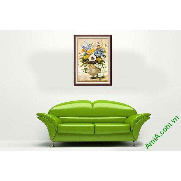 Tranh trang trí treo tường phòng khách bình hoa sang trọng-00