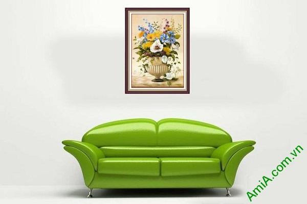 Tranh trang trí treo tường phòng khách bình hoa sang trọng-02