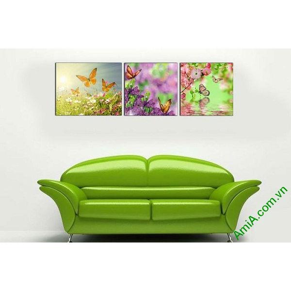 Tranh trang trí treo tường phòng khách hoa bướm mùa xuân-00