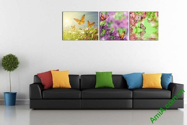 Tranh trang trí treo tường phòng khách hoa bướm mùa xuân-01
