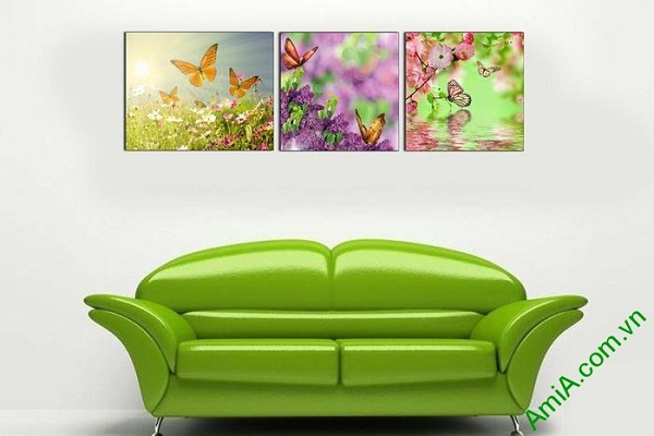 Tranh trang trí treo tường phòng khách hoa bướm mùa xuân-02