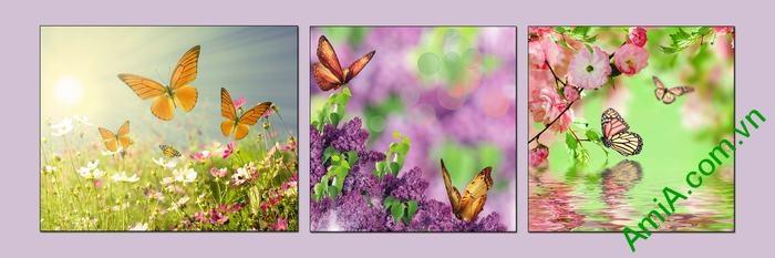 Tranh trang trí treo tường phòng khách hoa bướm mùa xuân