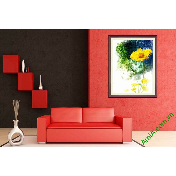 Tranh trang trí trừu tượng hoa cúc daisy AmiA 671-00