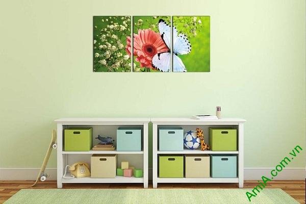 Tranh treo phòng khách, phòng trẻ em hoa bướm AmiA 638-01