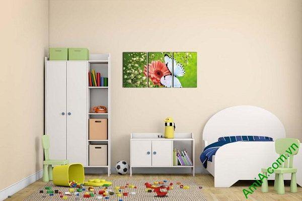 Tranh treo phòng khách, phòng trẻ em hoa bướm AmiA 638-02