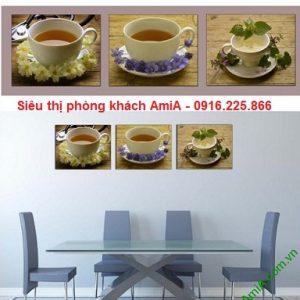 Hình ảnh mẫu Khung tranh trang trí ghép bộ thưởng trà