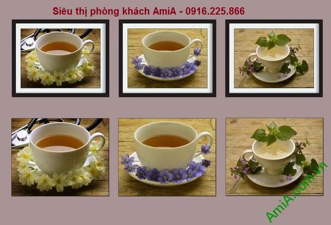 Hình ảnh mẫu Khung tranh trang trí ghép bộ thưởng trà amia 765a