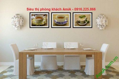 Hình ảnh Khung tranh trang trí ghép bộ thưởng trà treo phòng ăn hiện đại