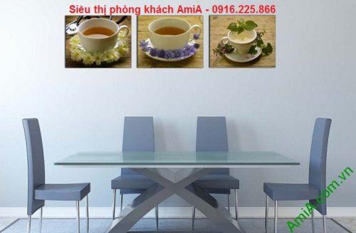 Hình ảnh Khung tranh trang trí ghép bộ thưởng trà sang trọng