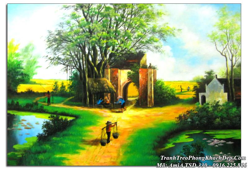 Tranh vẽ sơn dầu làng quê TSD 330 đường quê nông thôn