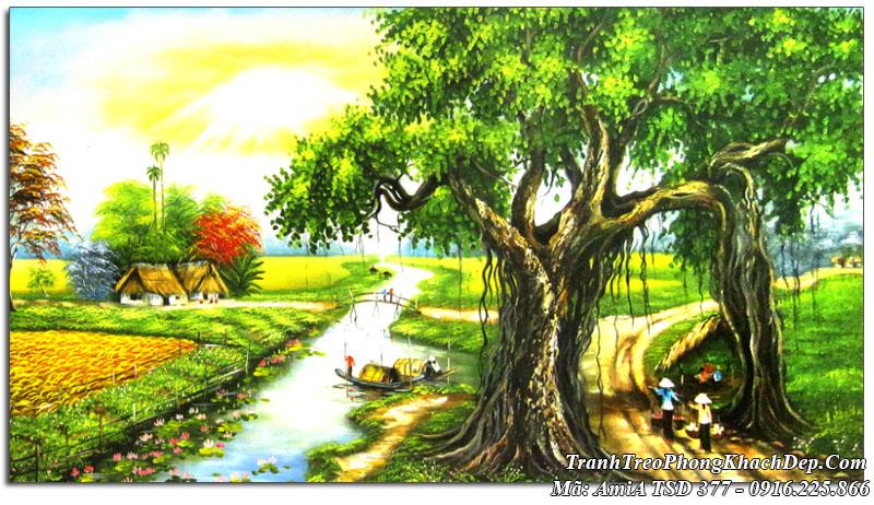 Tranh đẹp phong cảnh làng quê sơn dầu Amia 377 khổ lớn