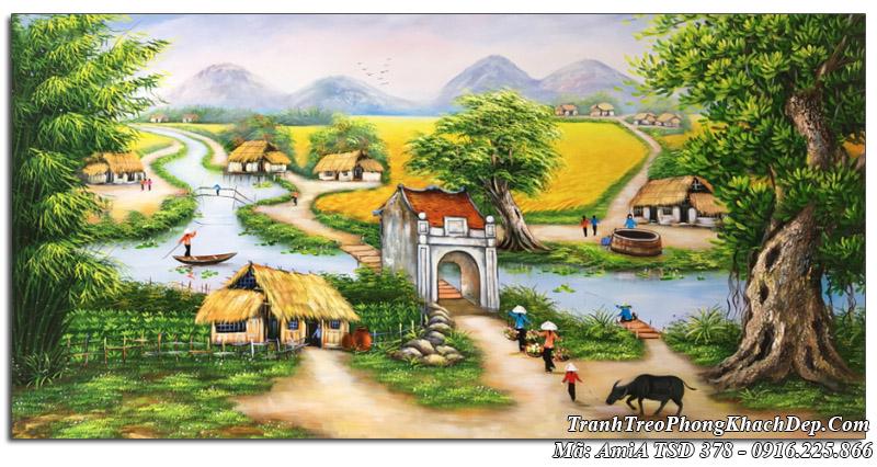 Tranh sơn dầu làng quê Amia 378 khổ lớn