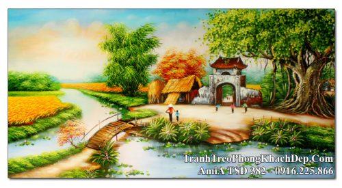 Tranh sơn dầu khổ lớn AmiA 382 vẽ cảnh làng quê đẹp nhất