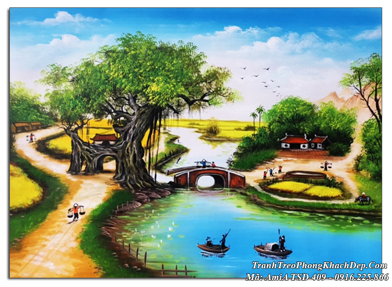 Tranh vẽ quê hương cây đa cổ thụ TSD 409
