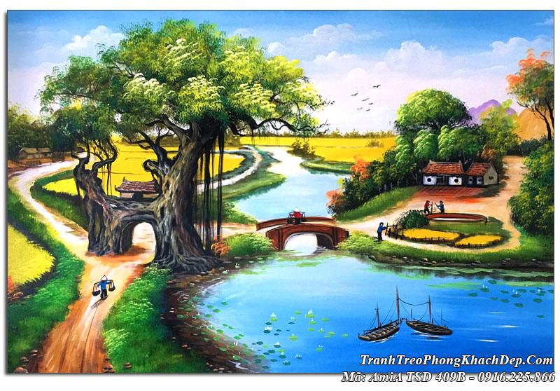 Tranh vẽ đường làng quê sơn dầu TSD 409B