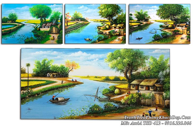 Tranh vẽ con sông quê hương xanh biếc AmiA TSD 412