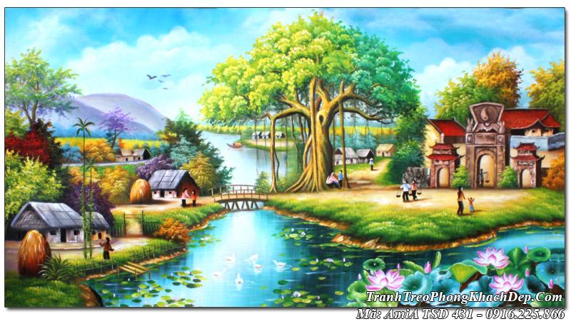 Tranh phong cảnh đẹp làng quê Việt Nam sơn dầu AmiA TSD 431