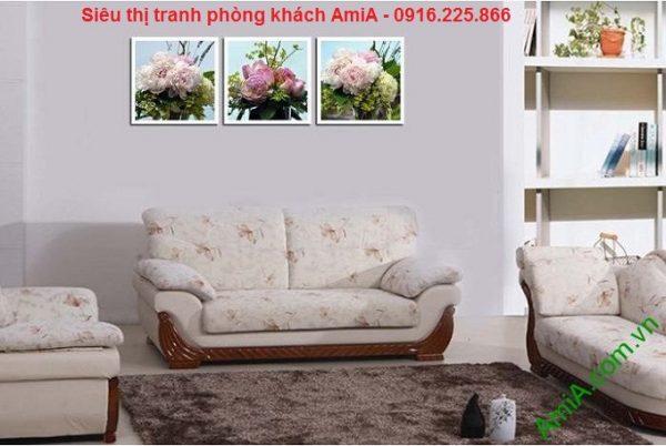 Mẫu tranh ghép bộ trang trí hoa mẫu đơn treo phòng khách
