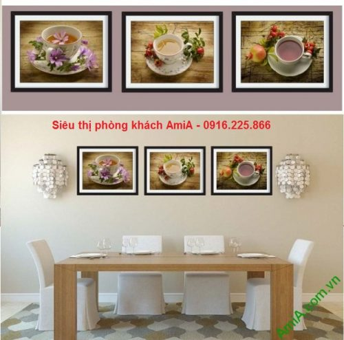 Hình ảnh Bộ khung tranh gỗ treo tường phòng khách, phòng ăn