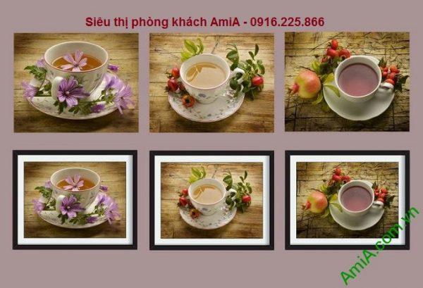 Hình ảnh Bộ khung tranh gỗ treo tường thưởng trà